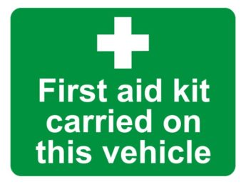 First Aid Kit Carried On This Vehicle Sticker