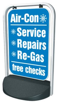 Swinger Pavement Forecourt Sign – AIR-CON, FREE CHECKS