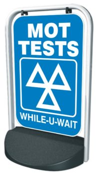 Swinger Pavement Forecourt Sign – MOT, WHILE-U-WAIT
