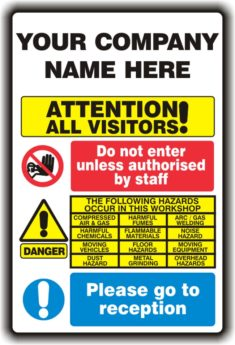 Visitor Warning Sign – PERSONALISED