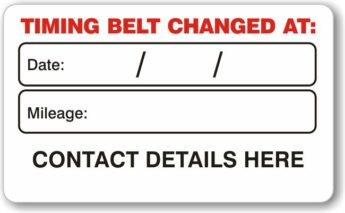 Timing Belt Replacement Date Labels