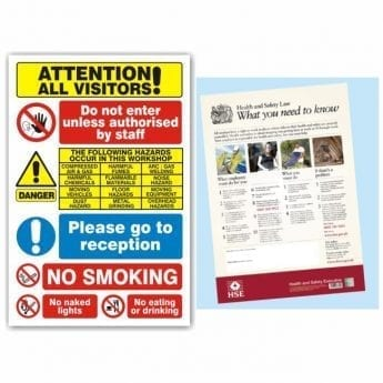 Safety Poster – HSE Law with Visitor Warning Sign