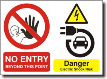 Electric & Hybrid Vehicle Warning Sign