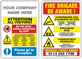 Visitor and Fire Brigade Warning Signs- 2 Pack PERSONALISED