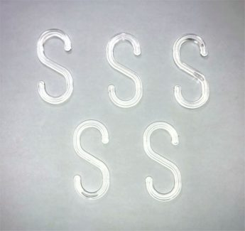 """S"" Hook for Plastic Barrier Chain- clear plastic x 5"