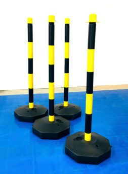 Chain Support Post 90cm – YELLOW & BLACK with fillable base