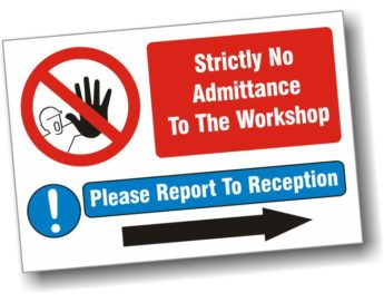 """Sign with """"S"""" Hooks – Strictly No Admittance – 40 x 30cm"""