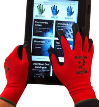 TOUCH SCREEN FRIENDLY Manual Handling Workshop Gloves – Red PU