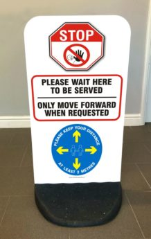 Flex Panel Sign – Please Wait Here To Be Served