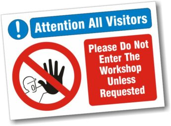 """Sign with """"S"""" Hooks – Workshop No Entry – 40 x 30cm"""