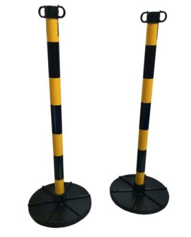 Chain Support Post 90cm – YELLOW & BLACK with Rubber Base