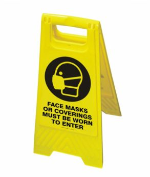 """Floor Stand Sign – """"Face masks or coverings must be worn"""""""