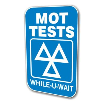 REPLACEMENT PANEL MOT Tests While U Wait – Swinger Sign