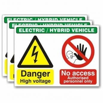 Electric Vehicle Warning & Prohibition Sign – 400 x 300mm – 3 PACK